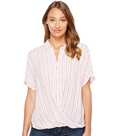 Mod-o-doc - Multicolor Rayon Stripe Short Sleeve Twist Hem Shirt