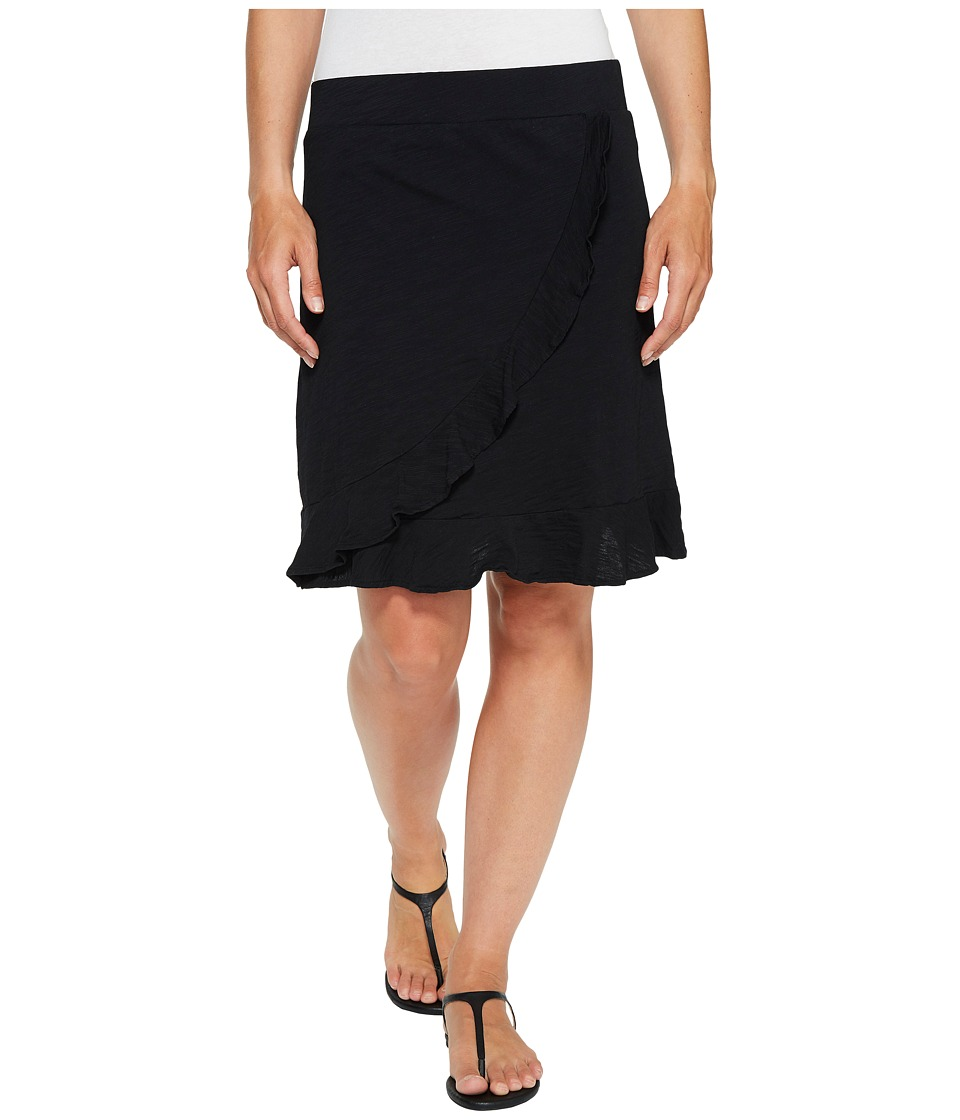 Mod-o-doc Slub Jersey Faux Wrap Ruffle Skirt (Black) Women