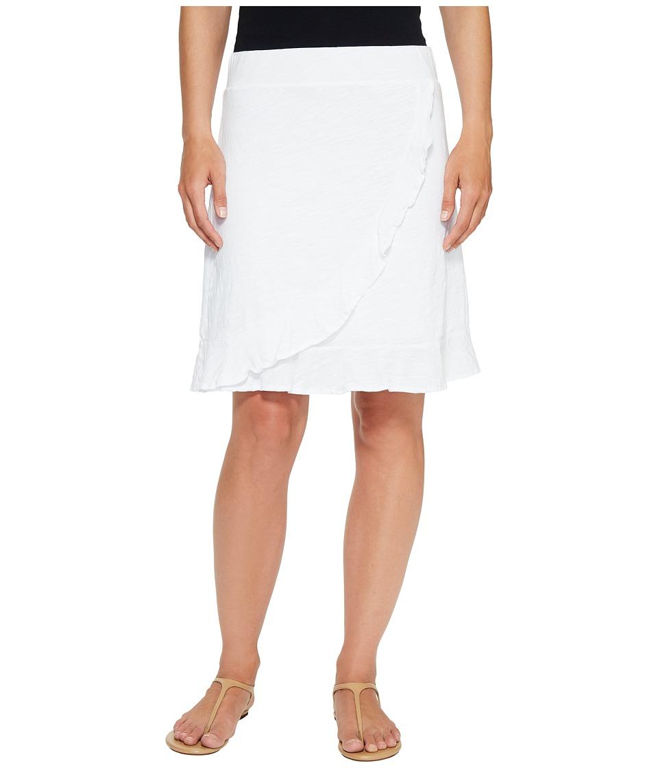 Mod-o-doc Slub Jersey Faux Wrap Ruffle Skirt (White) Women