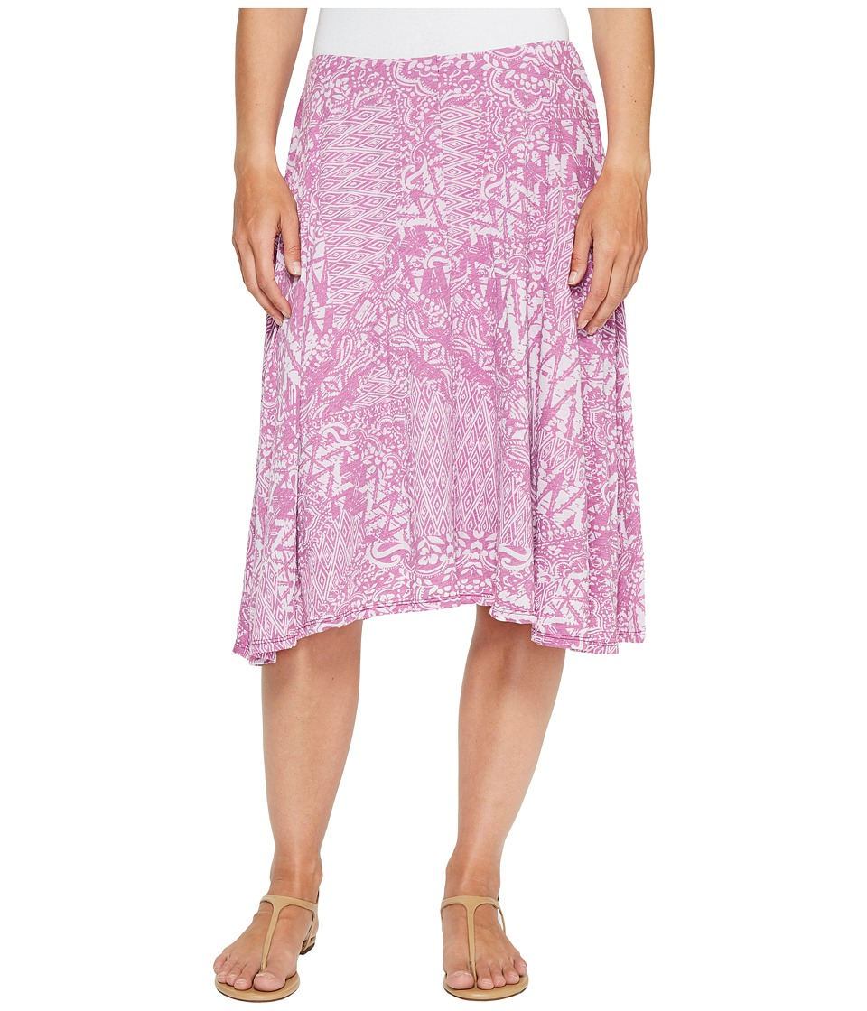 Mod-o-doc Patchwork Burnout Jersey Swing Skirt with Lining (Aster) Women