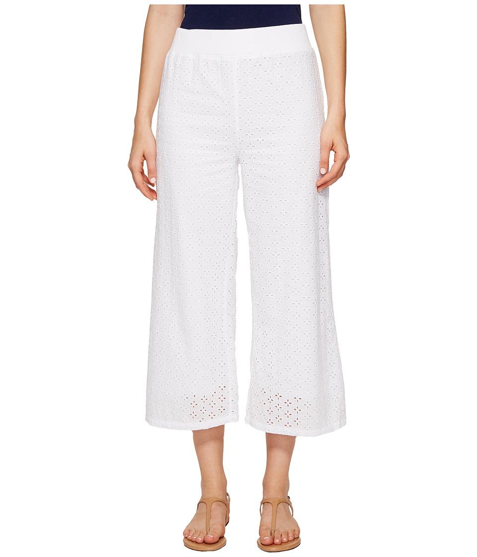 Mod-o-doc - Cotton Eyelet Wide Leg Crop Pants (White) Womens Casual Pants
