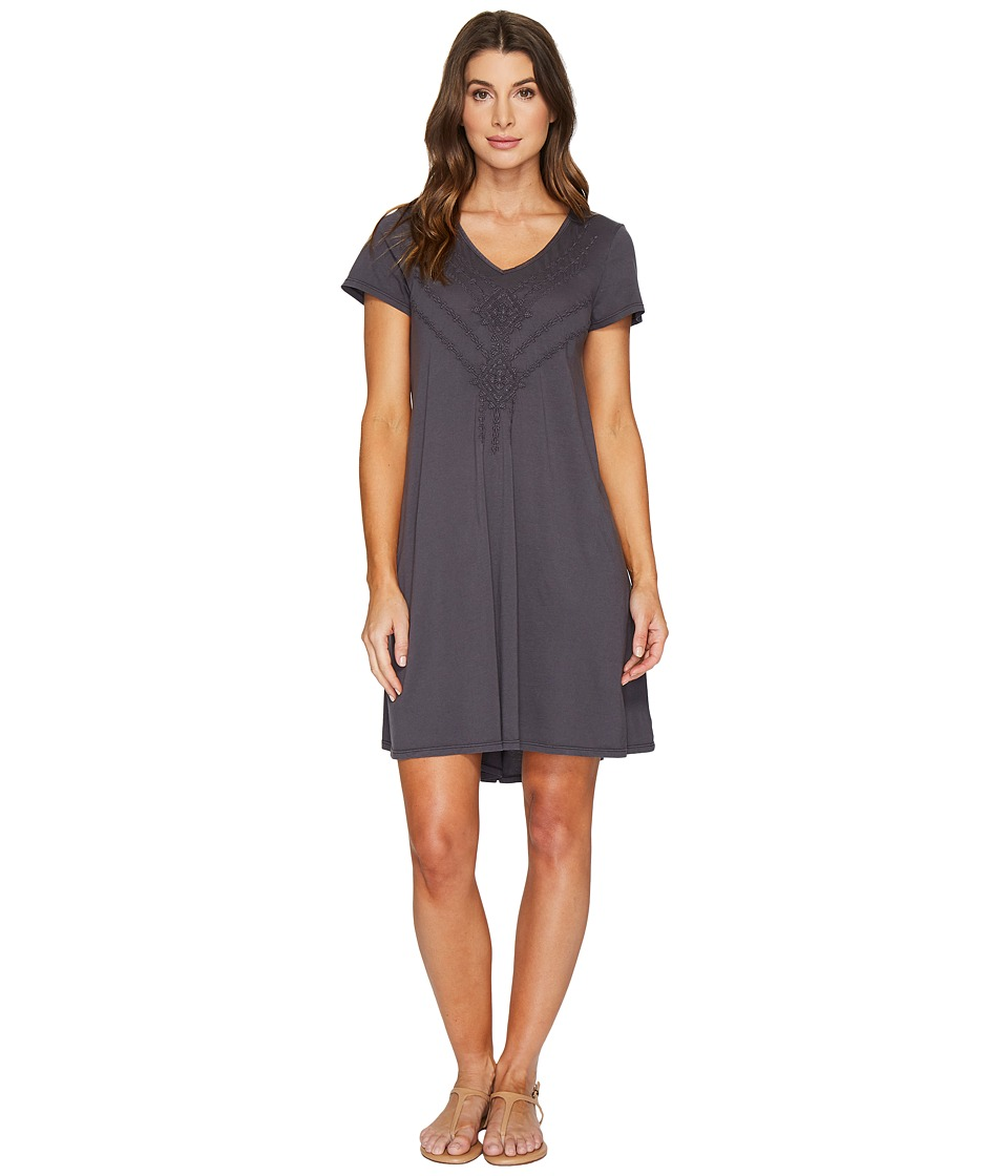 Mod-o-doc Supreme Jersey Embroidered Swingy Dress (Fossil) Women
