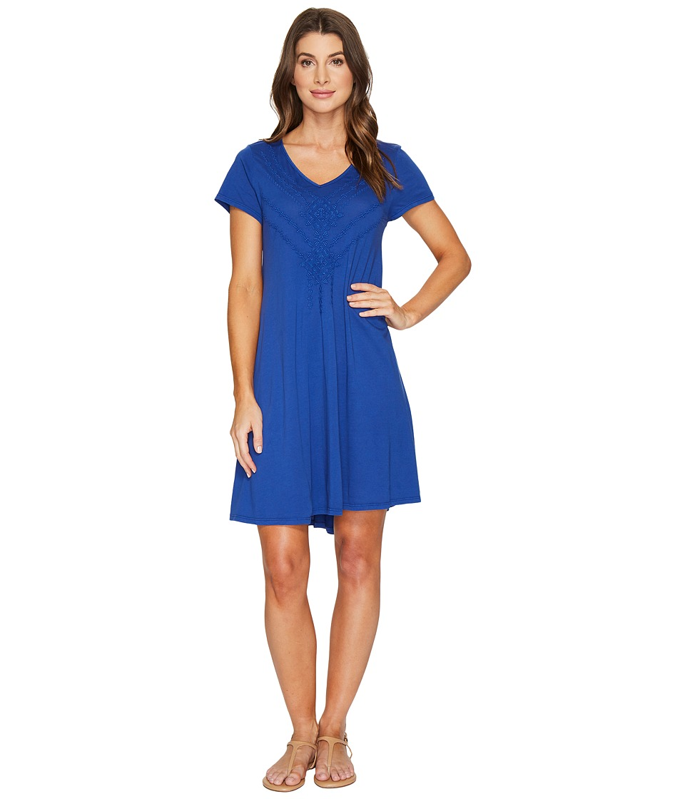 Mod-o-doc Supreme Jersey Embroidered Swingy Dress (Ocean) Women