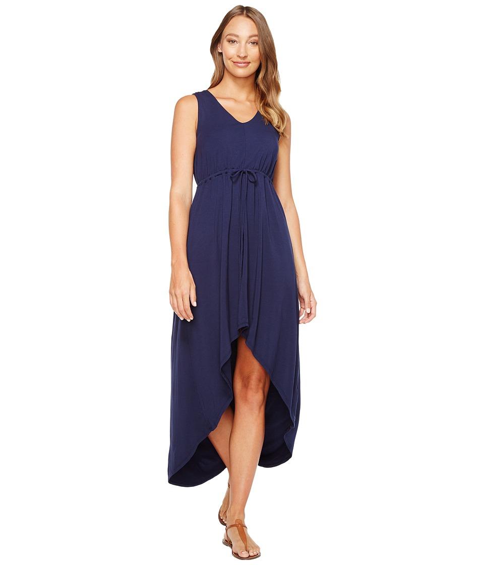 Mod-o-doc Cotton Modal Spandex Jersey Cinch Waist Hi-Low Hem Tank Dress (True Navy) Women
