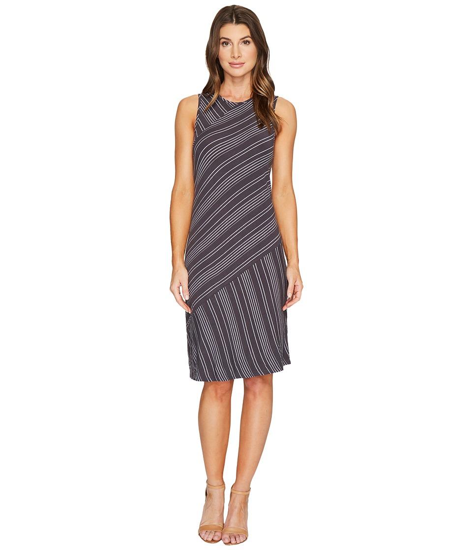 Mod-o-doc Boardwalk Stripe Asymmetrical Seamed Tank Dress (Fossil) Women
