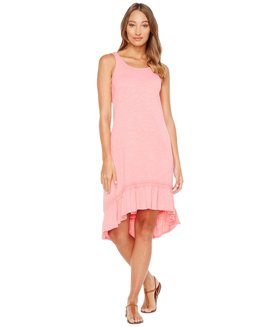 Mod-o-doc Slub Jersey Hi-Low Strappy Dress (Flamingo) Women