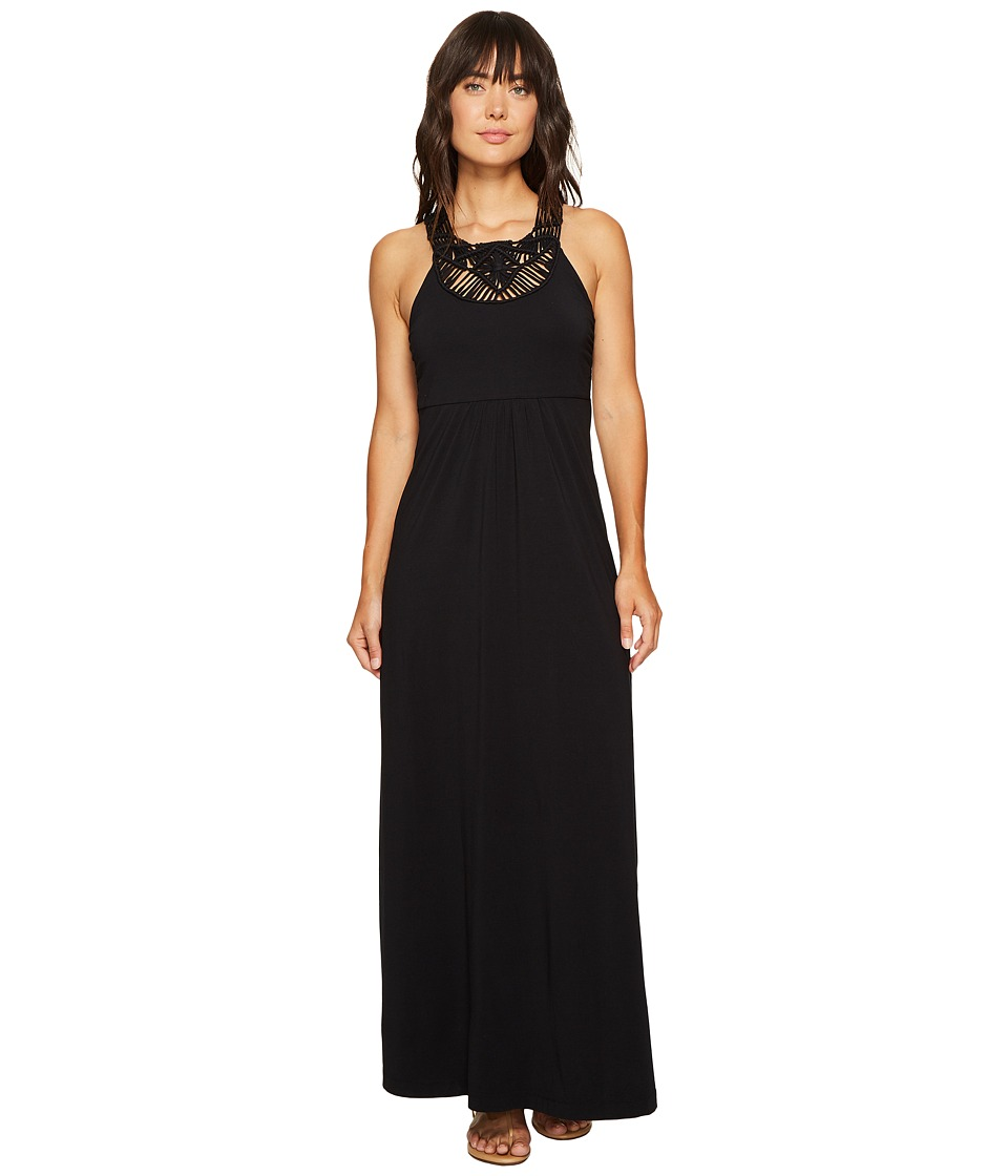 Mod-o-doc Cotton Modal Spandex Jersey Crochet Bib Tank Maxi Dress (Black) Women