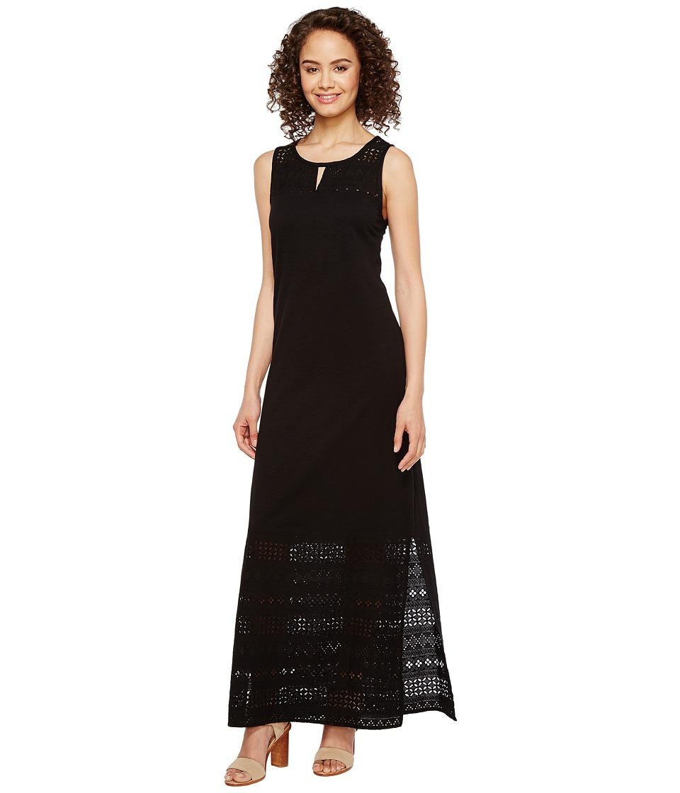 Mod-o-doc Heavier Slub Jersey Tank Maxi Dress with Eyelet Contrast (Black) Women