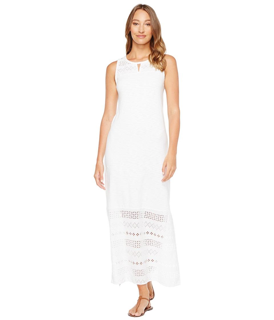 Mod-o-doc Heavier Slub Jersey Tank Maxi Dress with Eyelet Contrast (White) Women