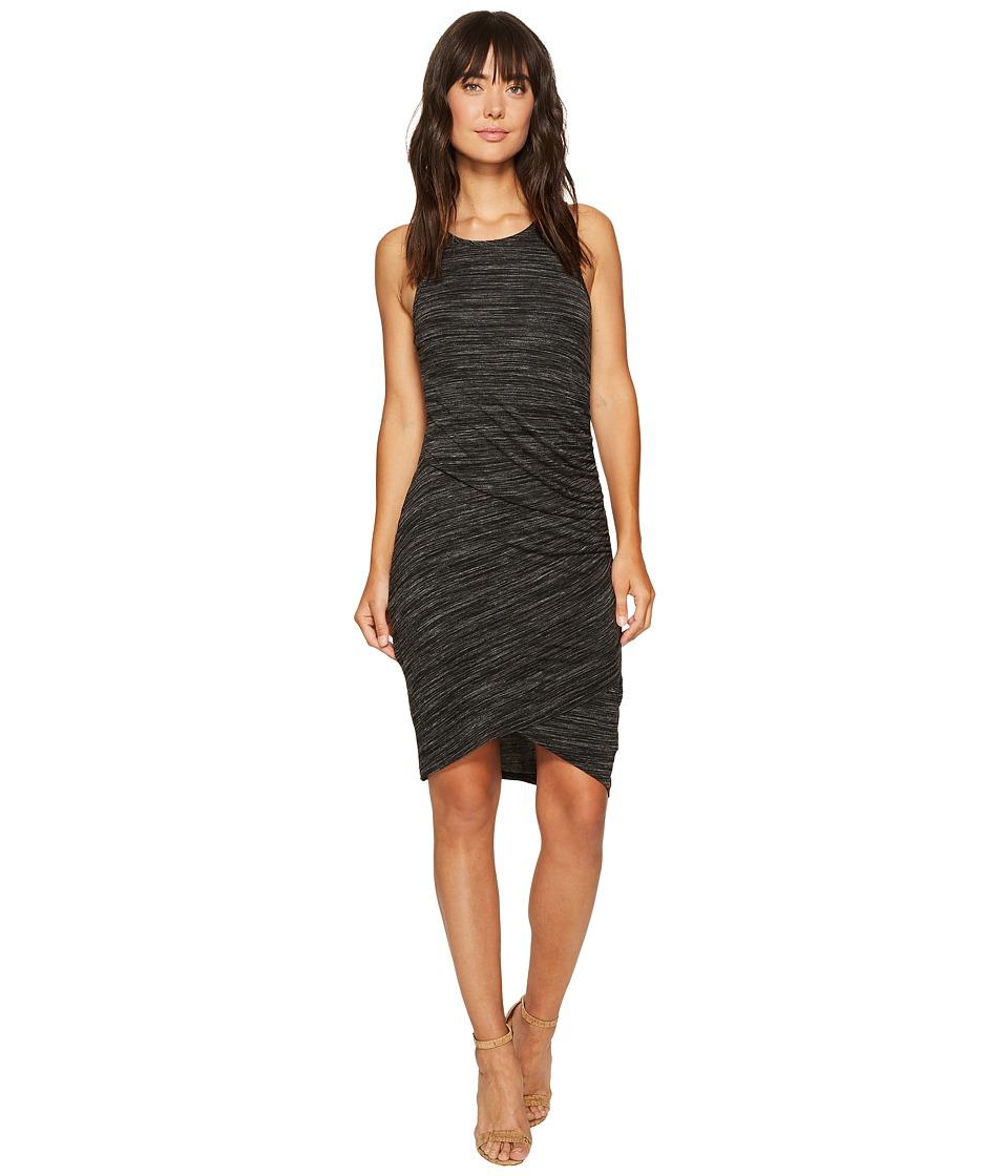 Mod-o-doc Space Dye Rayon Spandex Jersey Asymmetrical Shirred Tank Dress (Black Heather) Women