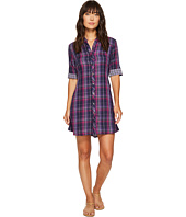 Mod-o-doc - Double Sided Plaid Tab Sleeve Shirtdress