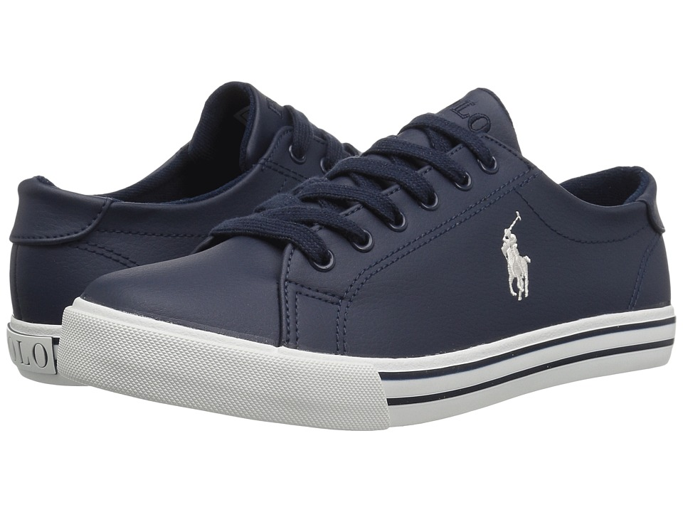 Polo Ralph Lauren Kids Slater (Big Kid) (Navy Tumbled/Cream PP) Boy's Shoes