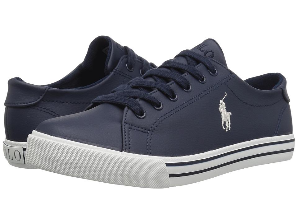 Polo Ralph Lauren Kids Slater (Big Kid) (Navy Tumbled/Cream PP) Boy's Shoes