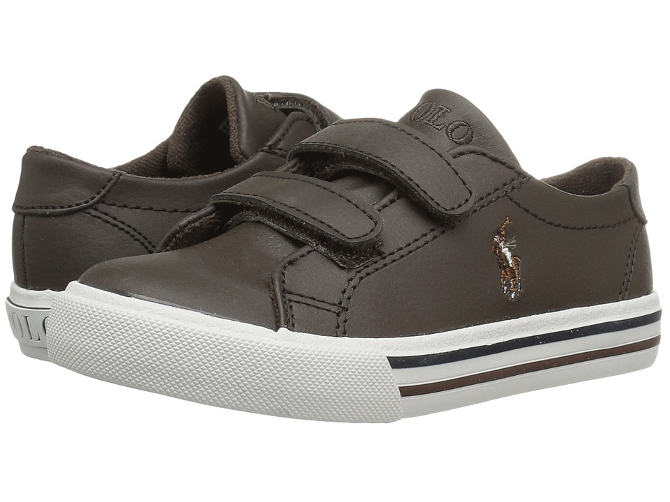 Polo Ralph Lauren Kids Slater EZ (Toddler) (Chocolate Tumbled/Multi PP) Boy's Shoes