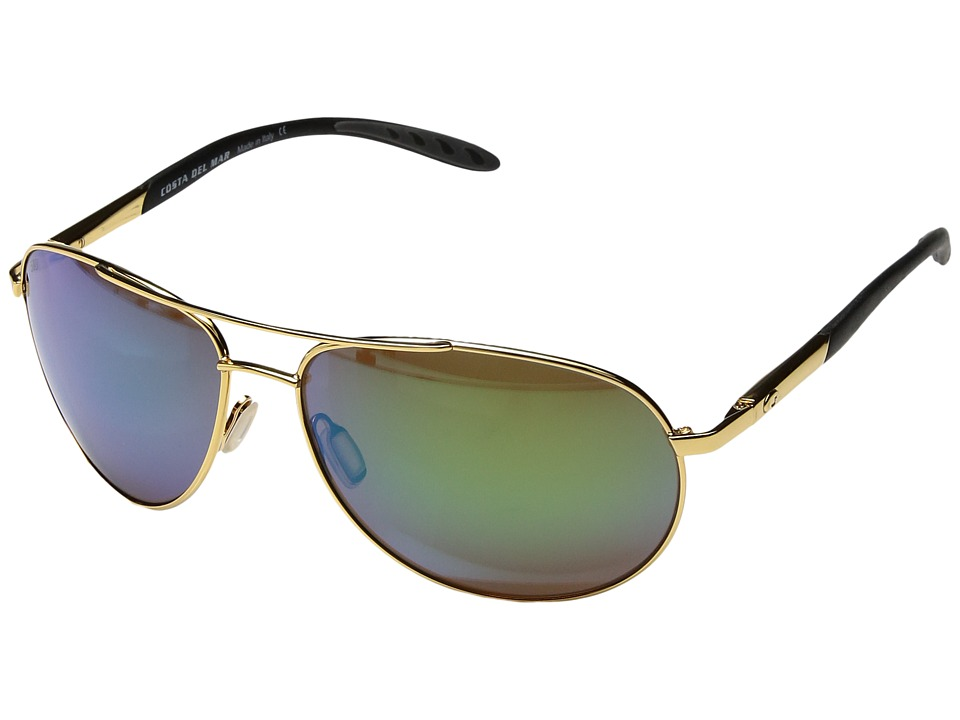 Costa - Wingman 580 Plastic (Gold Frame/Green Mirror Glass W580) Sport Sunglasses