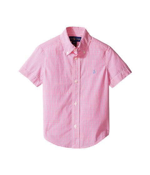 Polo ralph lauren kids poplin short sleeve button down for Pink and white ralph lauren shirt