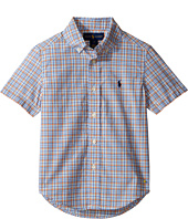 Polo Ralph Lauren Kids - Yarn-Dyed Poplin Short Sleeve Button Down Shirt (Little Kids/Big Kids)