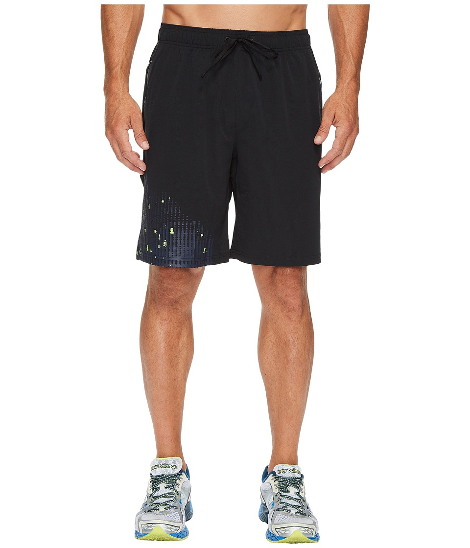 New Balance Max Intensity Shorts (Black Multi/Pigment/Energy Lime) Men