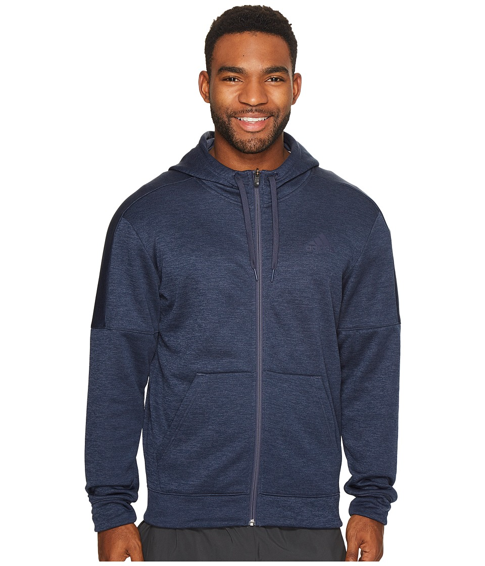 adidas Team Issue Fleece Full Zip Hoodie (Trace Blue Melange/Trace Blue Melange) Men