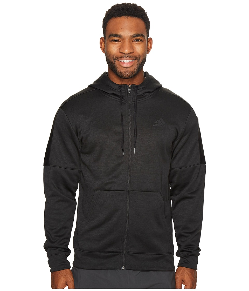 adidas Team Issue Fleece Full Zip Hoodie (Black Melange/Black Melange) Men