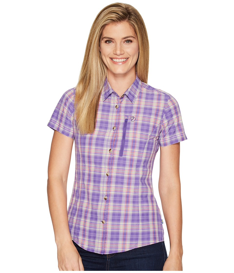 Fjallraven - Abisko Hike Shirt Short Sleeve (Purple) Womens Short Sleeve Button Up