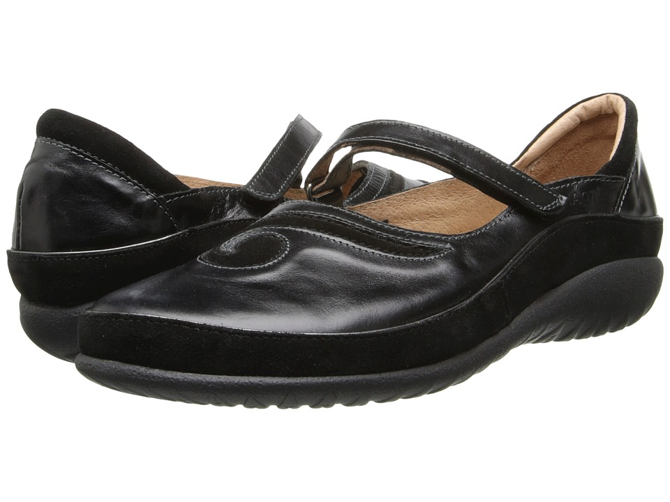 Naot Matai (Black Madras Leather/Black Suede) Maryjanes