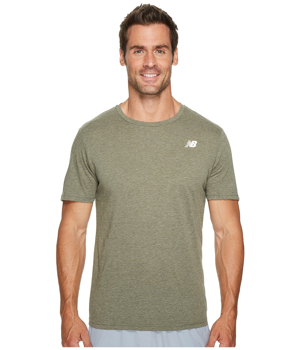 New Balance Heather Tech Short Sleeve (Military Foliage Green) Men