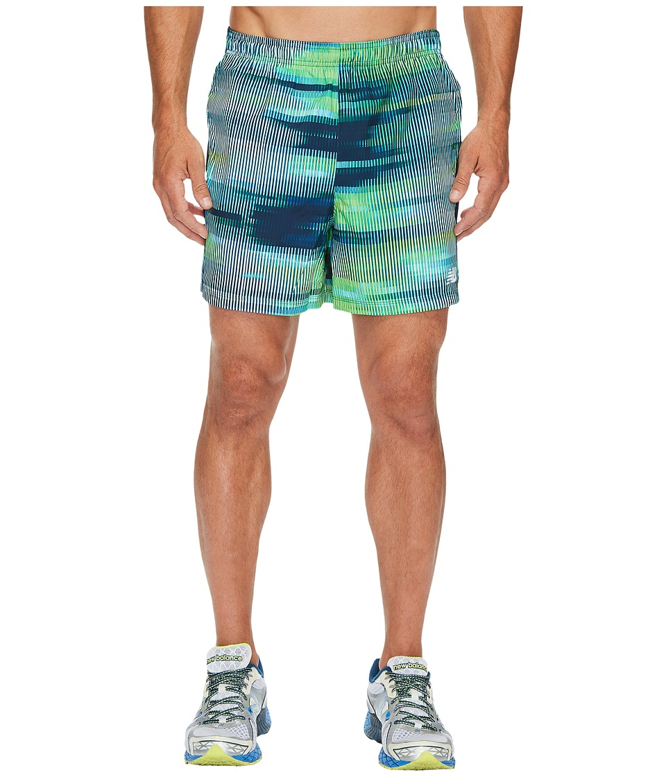 New Balance Accelerate 5 Shorts w/ Brief (Bolt Scramble Stripe/Energy Lime) Men