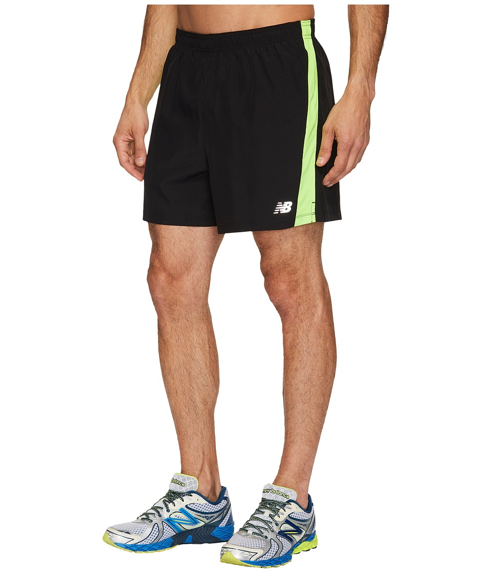 New Balance Accelerate 5 Shorts w/ Brief (Black/Energy Lime) Men