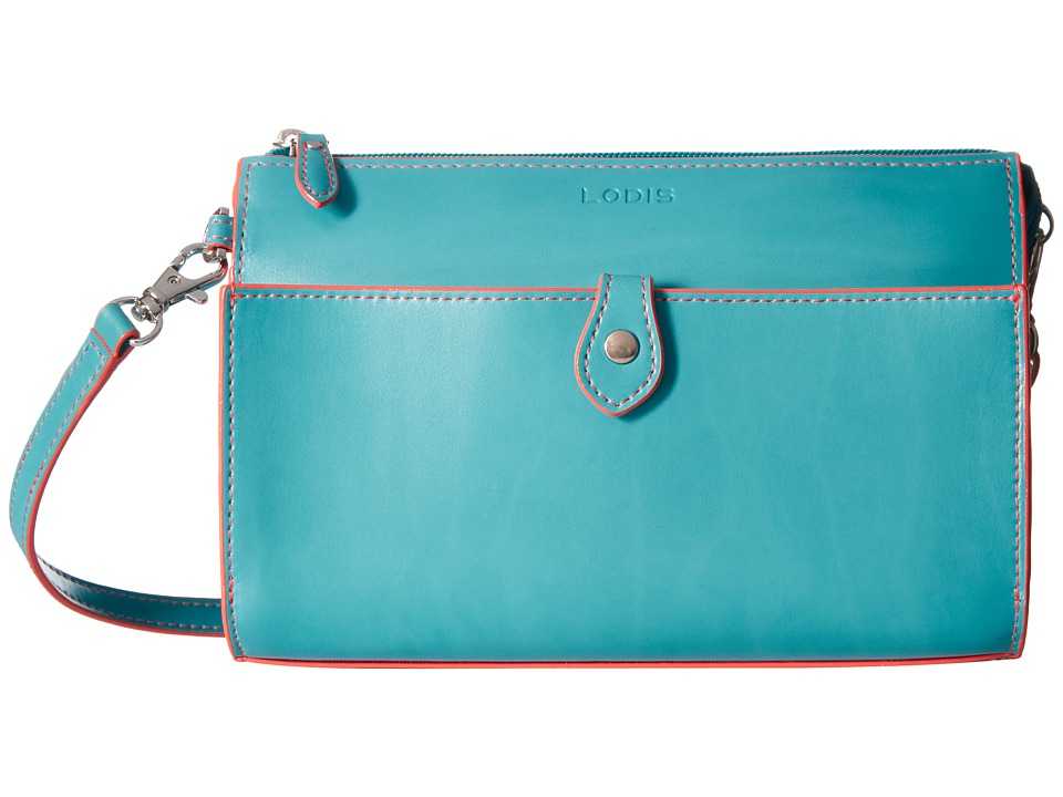Lodis Accessories Audrey Vicky Convertible Crossbody Clutch (Turquoise/Coral) Clutch Handbags