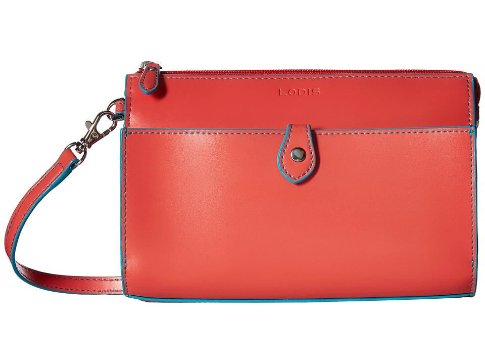 Lodis Accessories Audrey Vicky Convertible Crossbody Clutch (Coral/Turquoise) Clutch Handbags
