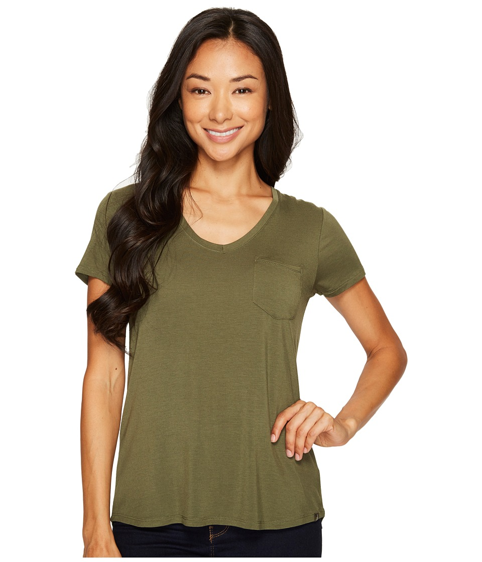 Prana Foundation Short Sleeve V-Neck Top (Cargo Green) Women