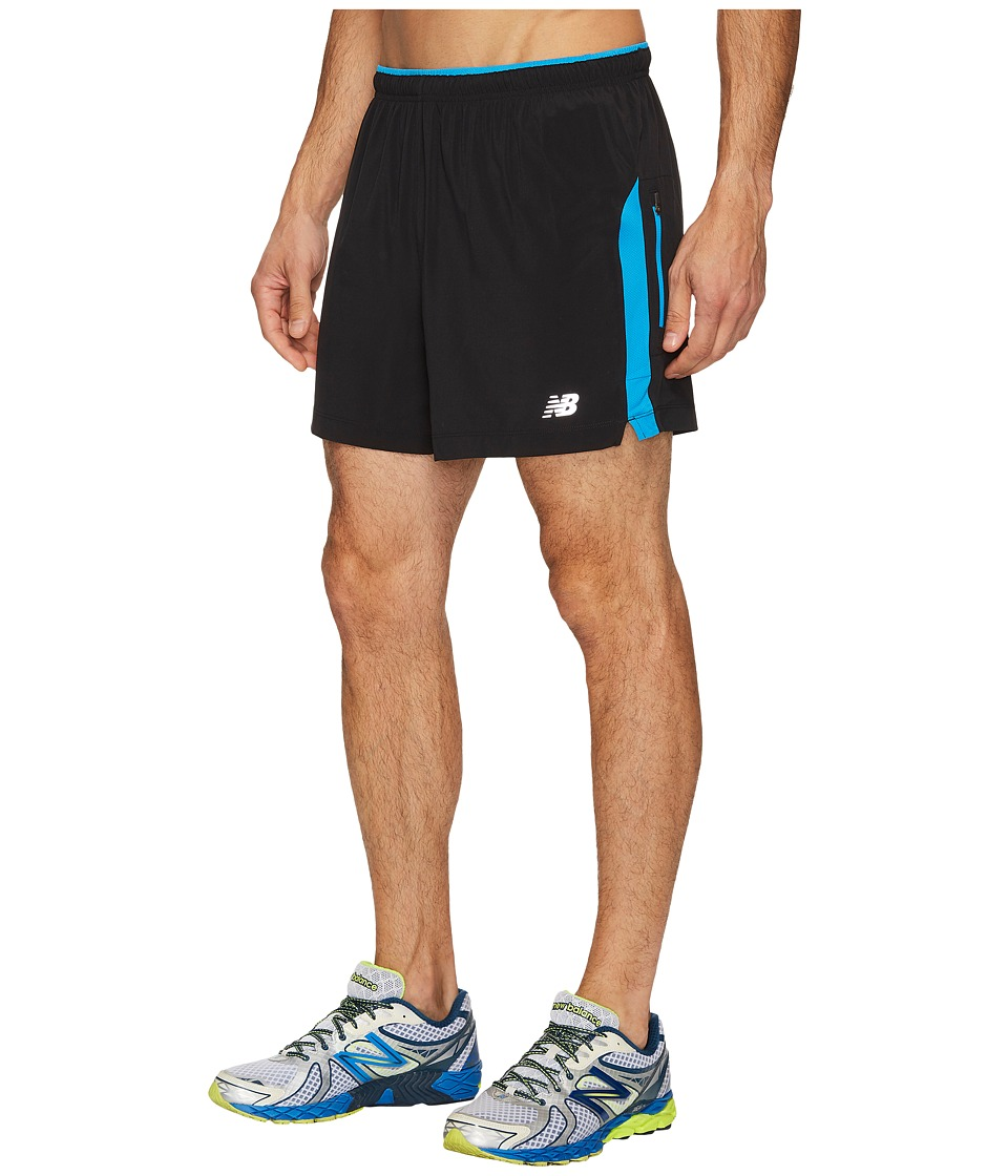 New Balance Impact 5 Track Shorts (Black/Bolt) Men