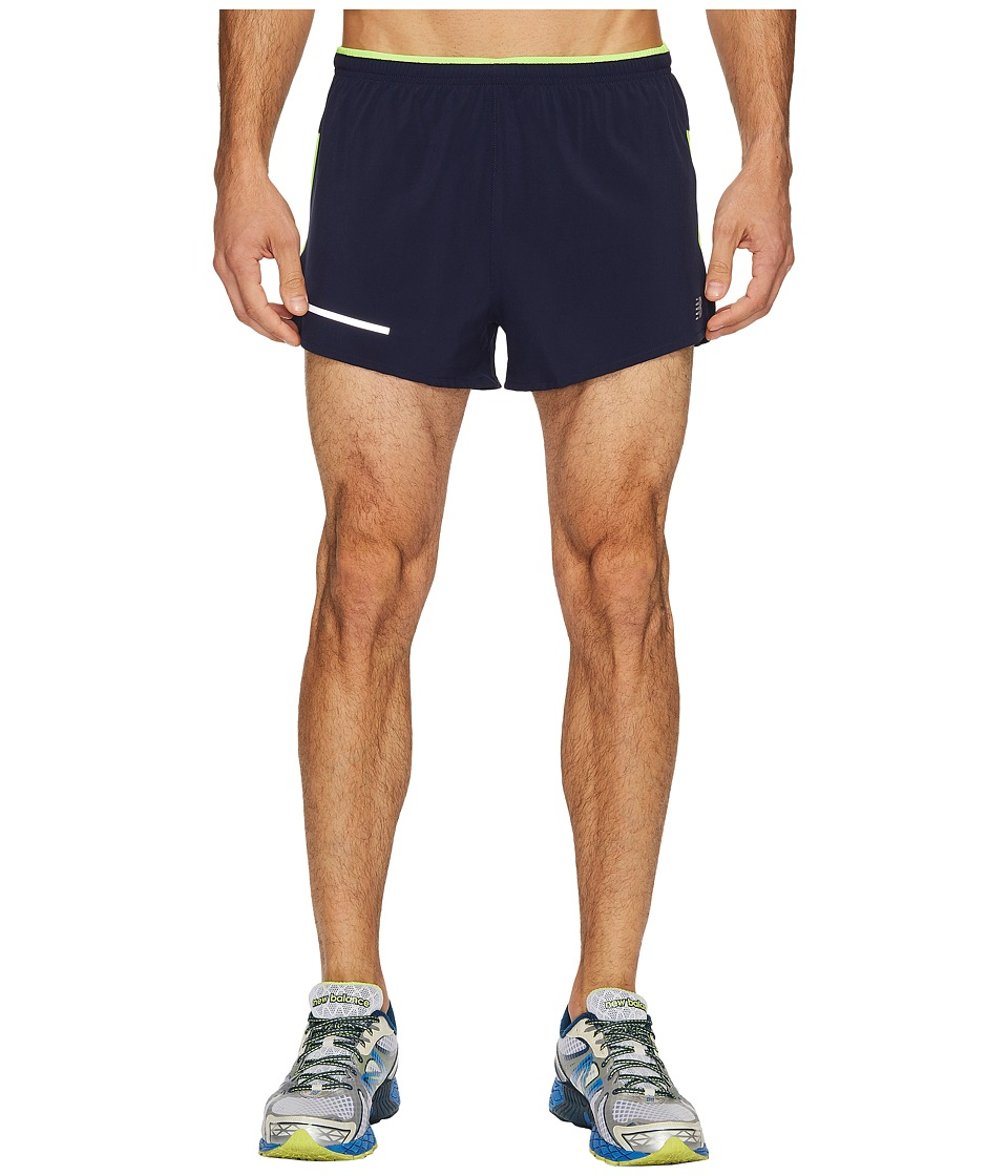 New Balance Impact 3 Split Shorts (Pigment/Energy Lime) Men