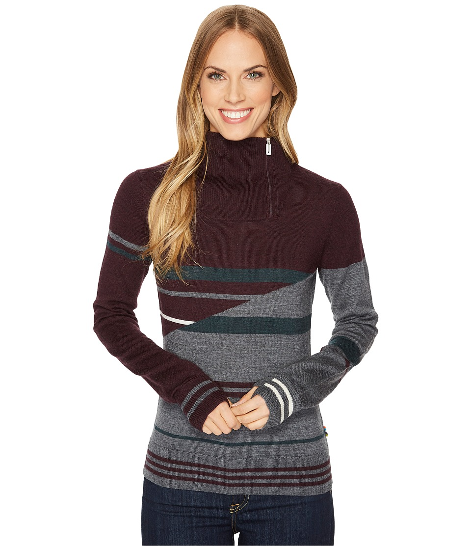 Smartwool Isto Sport Stripe Sweater (Bordeaux Heather) Women
