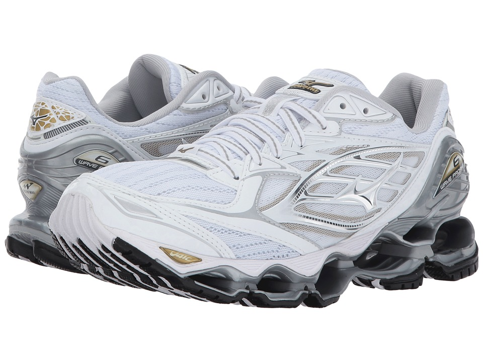 Mizuno - Wave Prophecy 6 (White/Silver/Gold) Womens Running Shoes