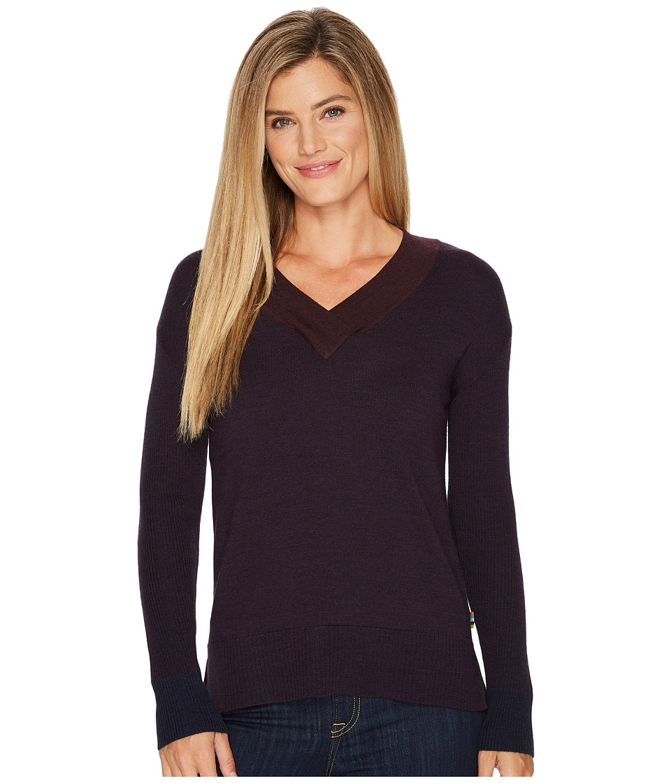 Smartwool Akamina Color Block V-Neck Sweater (Deep Navy Heather) Women