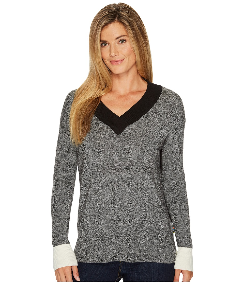 Smartwool Akamina Color Block V-Neck Sweater (Black) Women