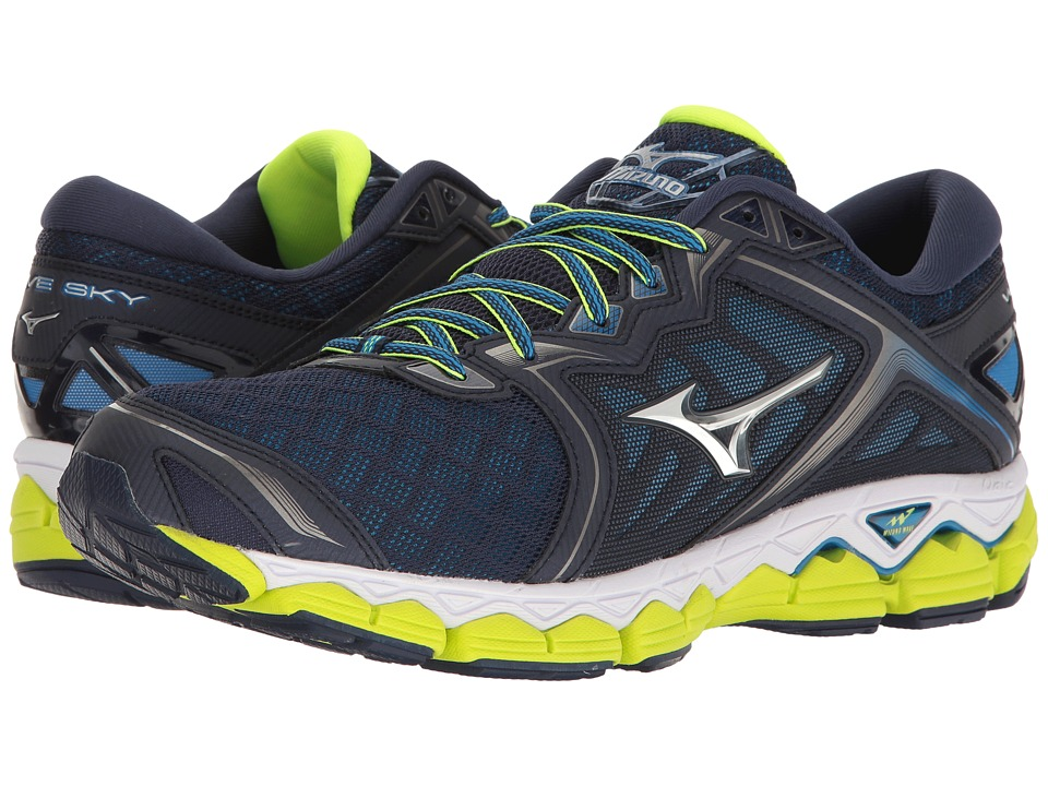 Mizuno Wave Sky (Peacoat/Silver/Safety Yellow) Men's Runn...