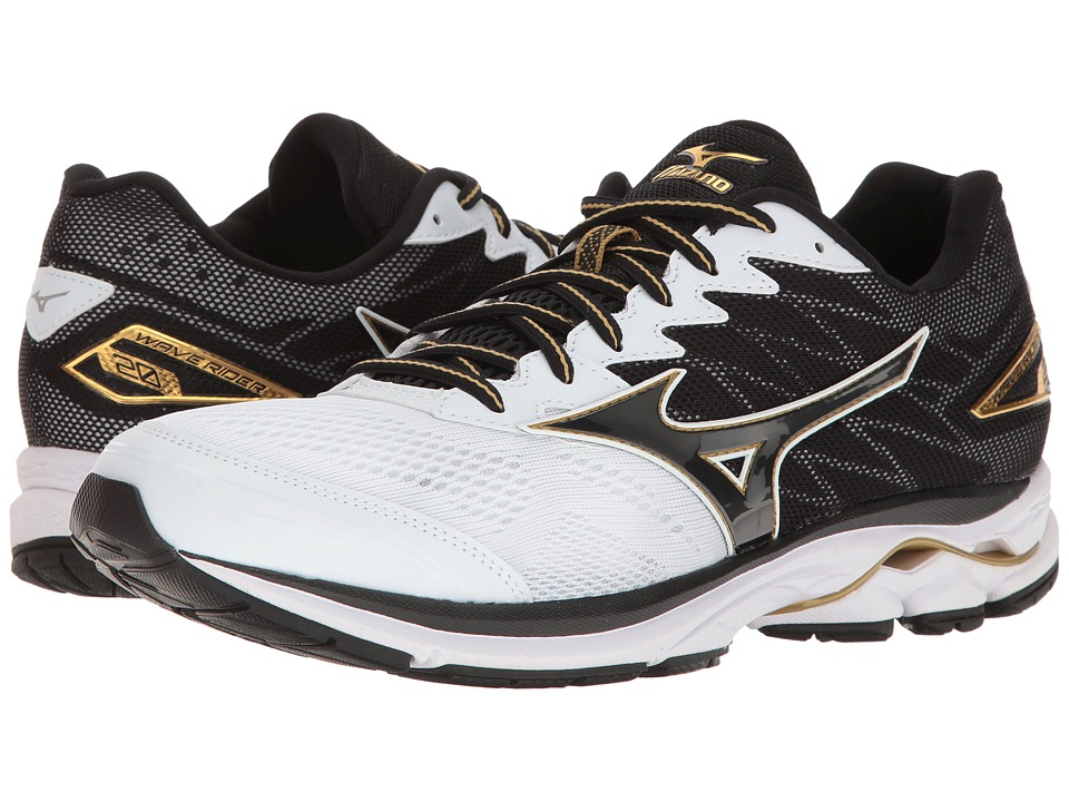 Mizuno - Wave Rider 20 (White/Black/Gold) Men's Running Shoes