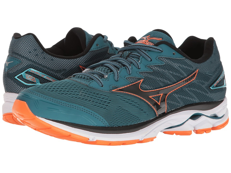 Mizuno Wave Rider 20 (Blue Coral/Black/Clownfish) Men
