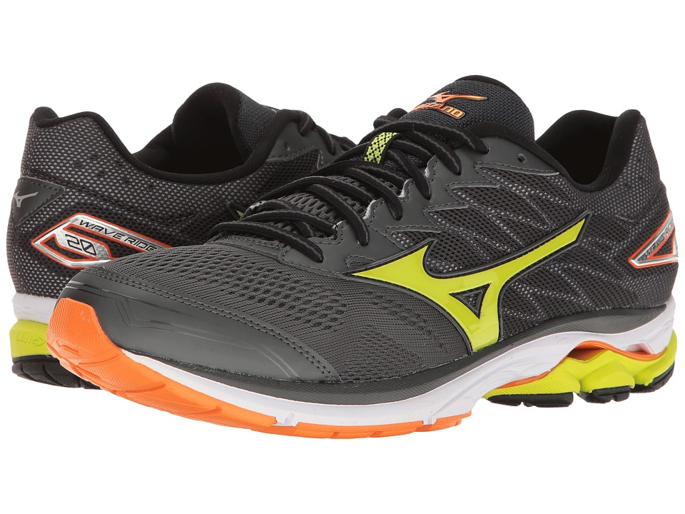 Mizuno Wave Rider 20 (Dark Shadow/Lime Punch/Vibrant Orange) Men