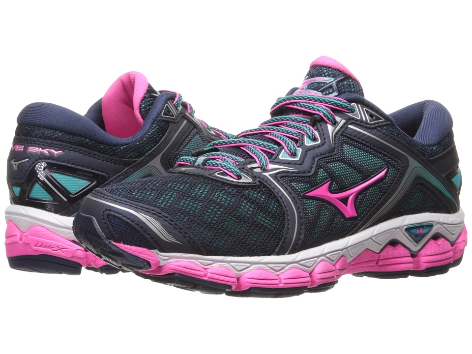 Mizuno Wave Sky (Peacoat/Pink Glow/Ceramic) Women's Runni...