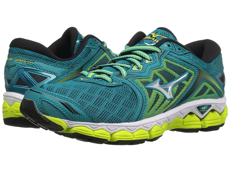 Mizuno Wave Sky (Tile Blue/Silver/Safety Yellow) Women's ...