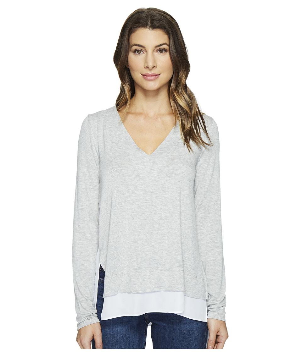 HEATHER - V-Neck Silk Layered Asymmetrical Pullover