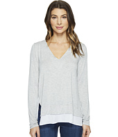 HEATHER - V-Neck Silk Layered Asymmetrical Pullover