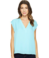 HEATHER - Silk Boxy V-Neck Placket Blouse