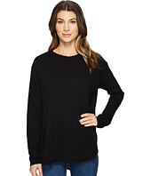 HEATHER - Cotton & Gauze Back Long Sleeve Top