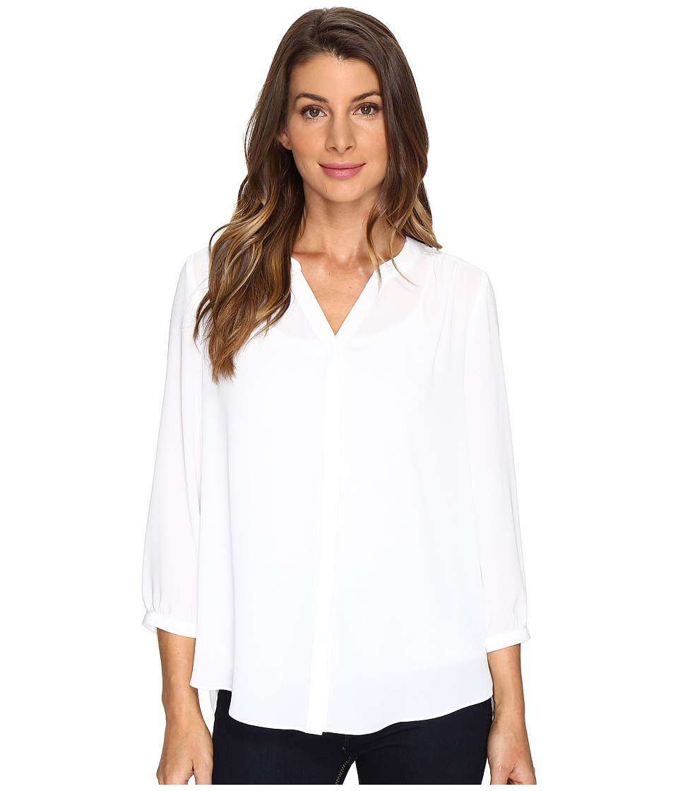 NYDJ Solid Blouse w/ Pleated Back (Optic White) Women's B...
