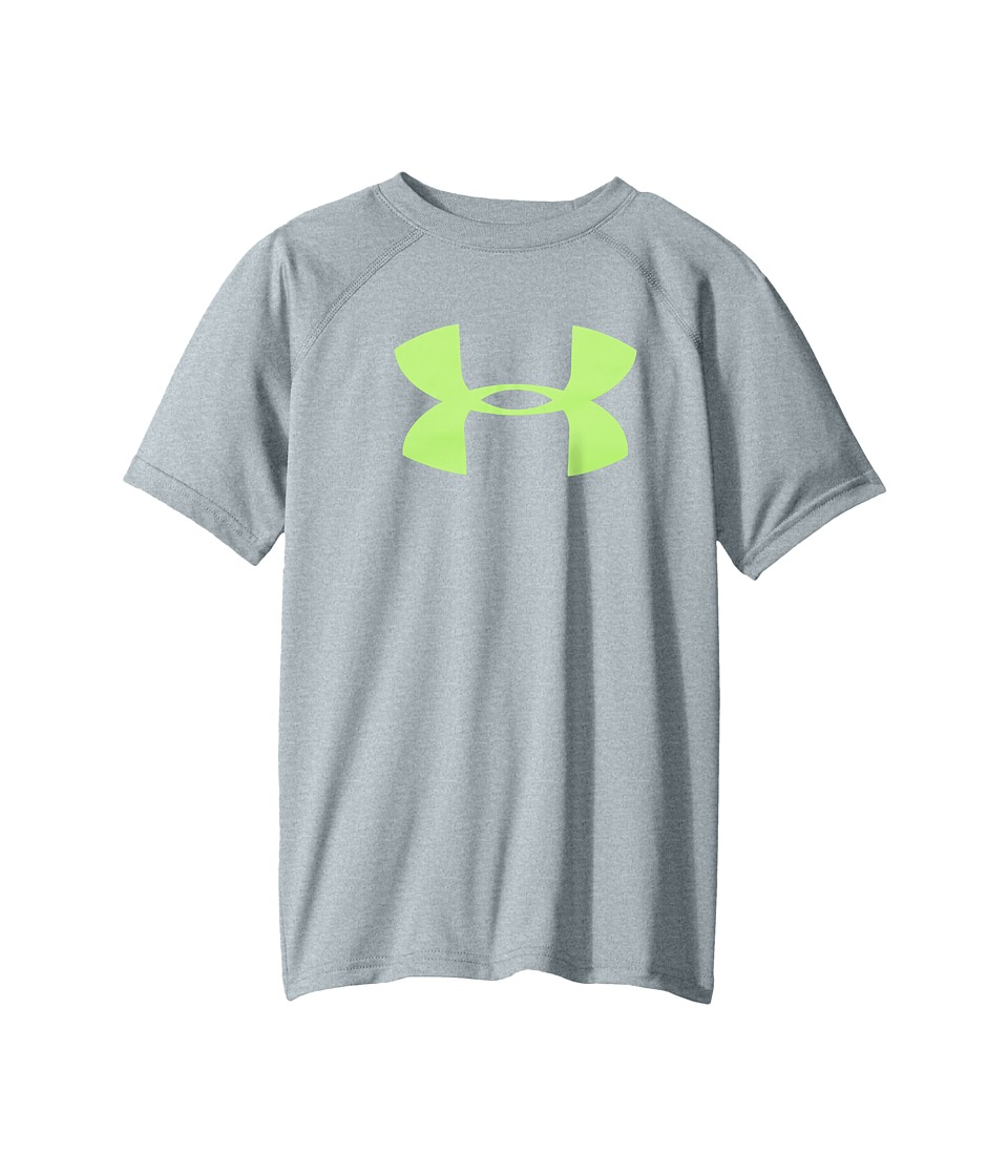 Under Armour Kids - UA Techtm Big Logo S/S Tee (Big Kids) (Steel Light Heather/Quirky Lime) Boys T Shirt